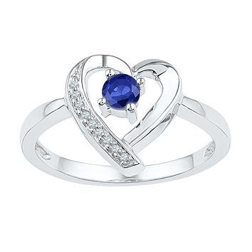 Sterling Silver Womens Round Lab-Created Blue Sapphire Diamond Heart Ring 1/4 Cttw