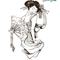 Vinyl Wall Decal Sticker Japanese Geisha w/ Fan #357