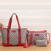 Gucci New Fashion Women Leather Satchel Shoulder Bag Handbag Crossbody Three Piece Set