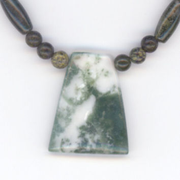 Green Gemstone Necklace and Pendant Fancy Jasper and by Lehane