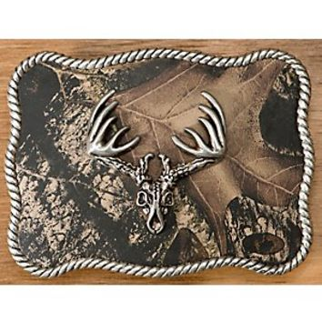 M&F Western Products® Camouflage w/ Silver Deer Skull Rectangle Buckle