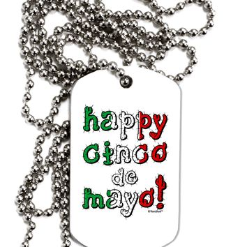 Happy Cinco de Mayo - Cactus Design Adult Dog Tag Chain Necklace by TooLoud