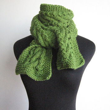 Hand Knit Scarf Kelly Green Cable and Lace Vegan Scarf Warm Winter Knitted Scarf Womens Accessories Green Scarf