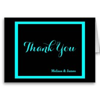 Wedding Thank You, Black & Aqua Personalized