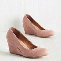 Find your Feat Wedge in Rose   Mod Retro Vintage Heels   ModCloth.com