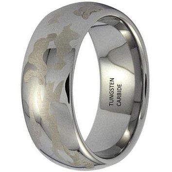 CERTIFIED 8mm Tungsten Carbide Camouflage Ring Hunting Engagement Wedding Camo Silver Band