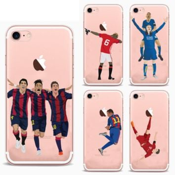 iPhone 8 7 6 6s PLUS FOOTBALLERS Messi Ronaldo Case Cover TPU Silicon Gel Cover