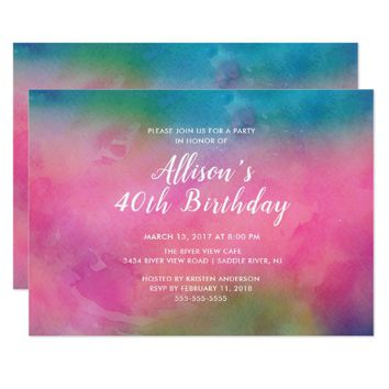 Pink Watercolor 40th Birthday Party Invitation