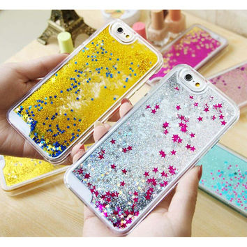 Glitter Stars Dynamic Liquid Quicksand Hard Case Cover For iPhone 4 4s 5 5s 6 back cover Transparent Clear Phone Case C019