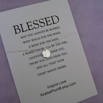 BLESSED. INSPIRATIONAL Jewelry. Best Friend Necklace. Goddaughter. Graduation Gift . Graduation Sister. Retirement. Mantra Necklace