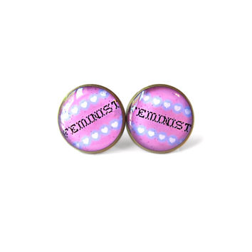 Faux Cross Stitch Feminist Stud Earrings - Feminist Conversation Heart Pop Culture Jewelry