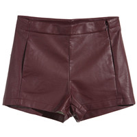 ROMWE | Claret-red Fake Leather Shorts, The Latest Street Fashion