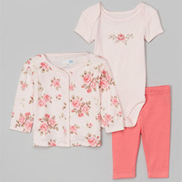 3-Piece Cardigan Pant Set Vintage Rose – Vitamins Baby