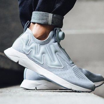 DCC3W Reebok Pump Supreme Engine Cable Grey/White BS7043 Fashion Shoes Sneaker Casual Shoes