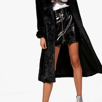 Leah Double Breasted Faux Fur Trench | Boohoo
