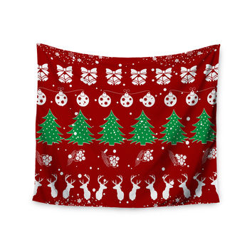 "Famenxt ""Christmas Vibes Red"" Red Green Illustration Wall Tapestry"