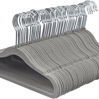 AmazonBasics Kids Velvet Hangers - 50-Pack, Grey