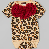 MyLolliflops Tan & Burgundy Leopard Chiffon Flower Bodysuit - Infant | Something special every day