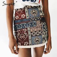 Simplee High waist skirts womens bottom Short boho style chic pencil skirt female Vintage sexy mini skirt 2017 summer beach
