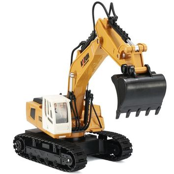9 Channel RC Truck Excavator Alloy Backhoes Bulldozer Remote Control Digger Engineering Vehicle Model Electronic Kids Hobby Toy