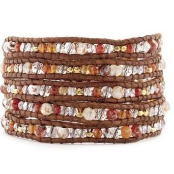 5 layer Handmade Wrap Bracelet with Red Fire Agate and Natural Carnelian Semi Precious Stones, Gold Nuggets and Silver Nugget