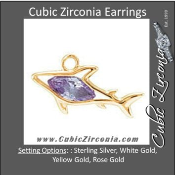 Cubic Zirconia Earrings- Shark Cinch Bezel Dangle for Marquise Center