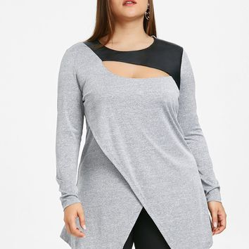 Gamiss Women Casual Long Sleeve Loose T Shirts Plus Size 5XL Cut Out Overlap Tunic Top Solid O Neck Long Shirts Women Clothings