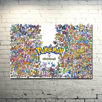 Xy Anime Game Art Silk Fabric Poster Canvas Print 13x20 20x30 Inches Pocket Monster Pikachu Picture For Home Decor 029Kawaii Pokemon go  AT_89_9