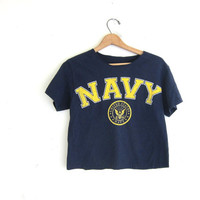 Vintage dark blue Grunge shirt. United States Navy cut off distressed tee shirt