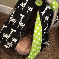 Infant Carseat Canopy Giraffe and Lime