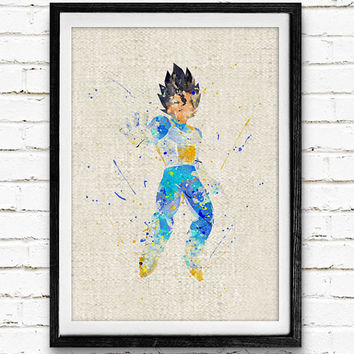 DBZ Vegeta Watercolor Print, Dragon Ball Baby Nursery Room Art, Minimalist Home Decor Not Framed, Buy 2 Get 1 Free!