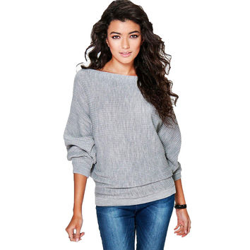 New arrival 2016 autumn Bat sleeve cashmere sweater women casual oversized knitted pullover pull femme manche longue
