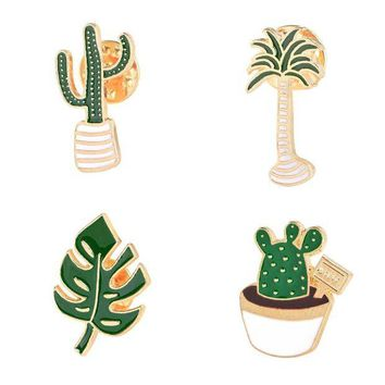 ac DCCKO2Q Lovely Badge Plant Potted Collar Shoe Lips Enamel Brooch  Coconut Tree Cactus Leaves Decorative Clothing Cartoon Pins Badge
