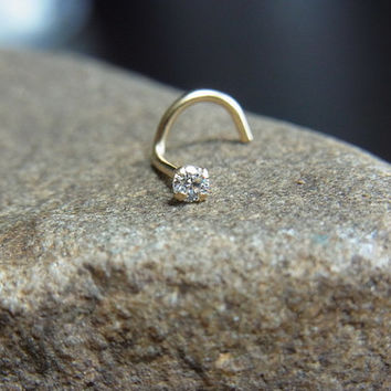 14k solid gold with 2mm CZ diamond claw setting nose screw