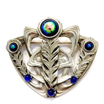 Art Nouveau Silver Brooch, Blue Dragon Breath Stones, Silver Tone Sculpted Peacock Feathers, Royal Blue Art Glass Accents, Vintage Jewelry