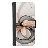 Abstract Anthracite Gray Sienna Shapes Fractal Art iPhone 8/7 Wallet Case