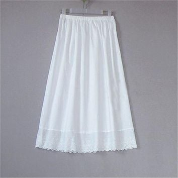Women 100% Cotton White Solid Maxi Embroidery Half Slip With Lace Plus Size Long 55-80cm Sexy Dress Underskirt #S015