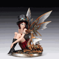 Steampunk Lady with Baby Dragon