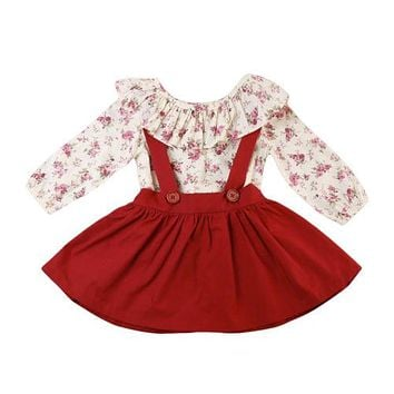 Long Sleeve Tops Shirt Flower Tutu Skirts 2pcs Cute Outfits Clothes Set Child Kids Baby Girl Clothing Sets
