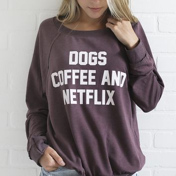 dogs, coffee, netflix sweatshirt - purple
