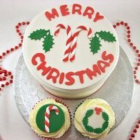 Christmas Party Package - One 6 Inch Christmas Fondant Cake Topper and 12 Christmas Cupcake Fondant Toppers,Candy Cane, Christmas Wreath
