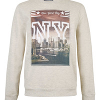 Ecru Marl NY City Scape sweatshirt - Hoodies & Sweatshirts - New In - TOPMAN USA