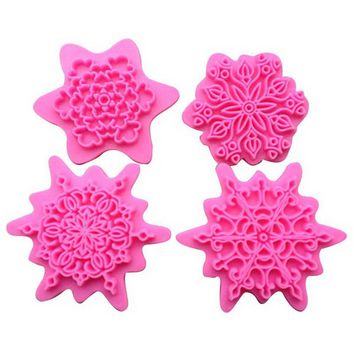 4Pcs/lot  Flower Shape Cake Embosser Press Mold Biscuit Stamps Fondant Sugar craft Cookie Cutter Kitchen Tools  VBN02 P0.3