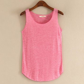 Spring Summer New Tank Tops Women Sleeveless Round Neck Loose Blouses Ladies Shirts Vest Singlets
