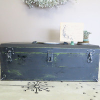 Black Chalk Paint Box Tool Box Metal Box Storage Box Wedding Gift Card Box Industrial Box Industrial Storage Hinged Box Black and Silver