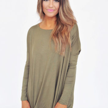 Long Sleeve Piko Top- Olive
