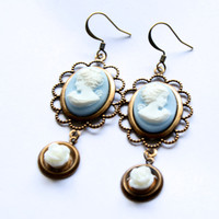 Antique Victorian Woman Profile Cameo Earrings