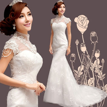 Romantic 2015 new Princess Bride Wedding Dress Lace mermaid = 1929609092