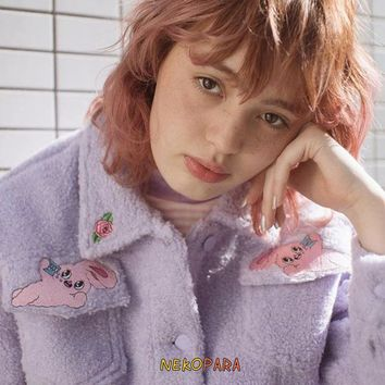 Rabbit & Rose Embroidery Cute Women's Violet Color Coat Winter Thick Warm Lolita Outwear Jacket with Pockets