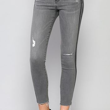 FLYING MONKEY Mid Rise Skinny Jeans with Tuxedo Stripe and raw hem